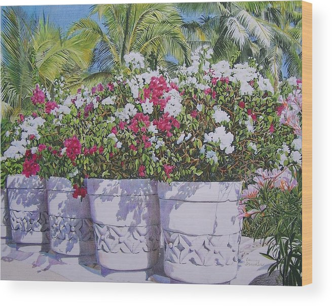 Flowers Wood Print featuring the mixed media Bougainvillea by Constance Drescher