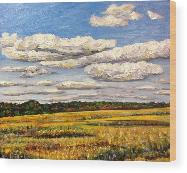 Clouds Wood Print featuring the painting Clouds Over Marsh In Wells Maine by Richard Nowak
