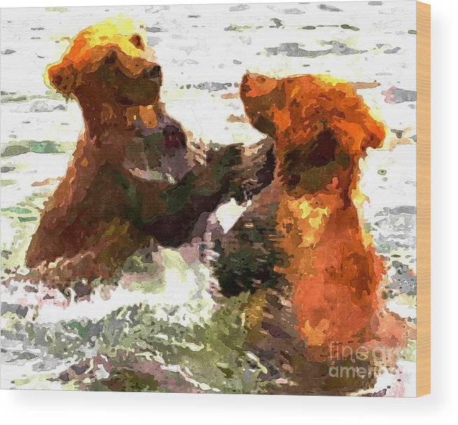 Colorful Bears Wood Print featuring the photograph Colorful Bears by Barbara Griffin