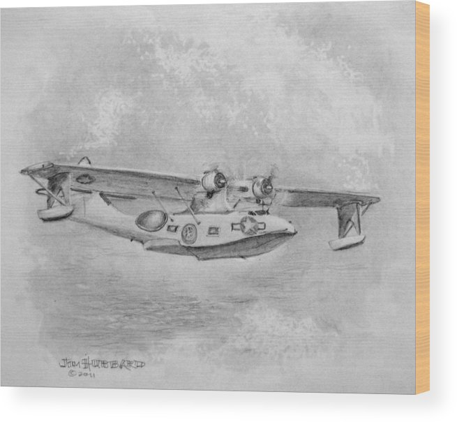 Air And Sea Rescue Plane Wood Print featuring the drawing Consolidated Catalina Pby by Jim Hubbard