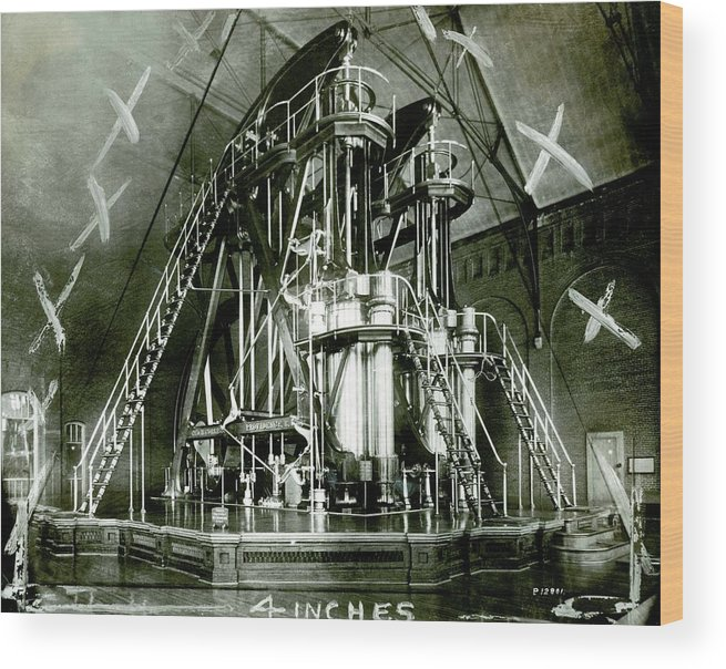 Corliss Wood Print featuring the photograph Corliss Exhibition Steam Engine by Miriam And Ira D. Wallach Division Of Art, Prints And Photographs/new York Public Library