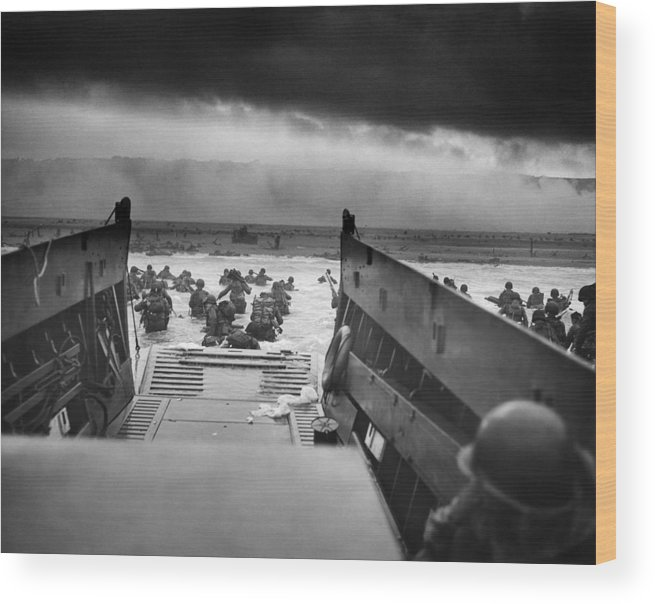 D Day Wood Print featuring the photograph D-day Landing by War Is Hell Store