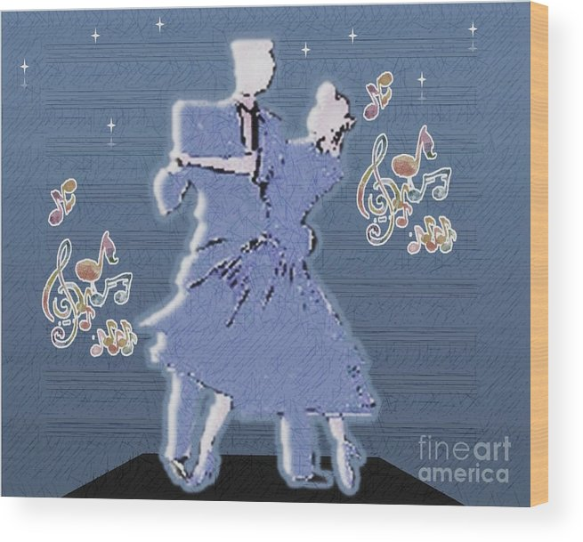 Dancers Wood Print featuring the drawing Dance To The Musicc by Belinda Threeths
