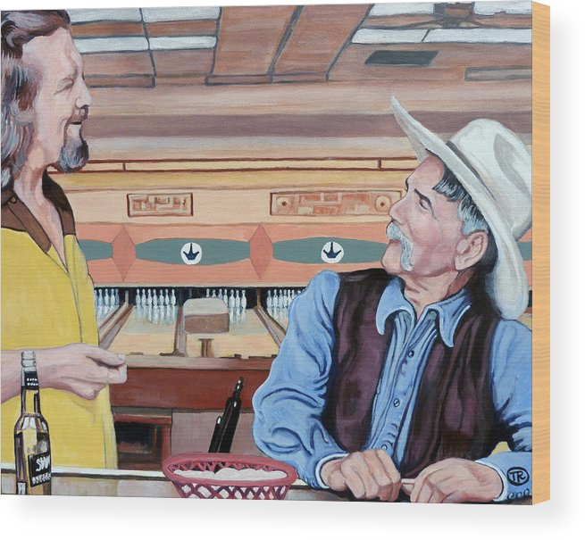 The Dude Wood Print featuring the painting Dude You've Got Style by Tom Roderick