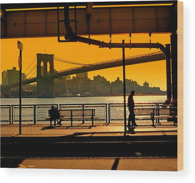 East Wood Print featuring the photograph East River Sunset by Valentino Visentini