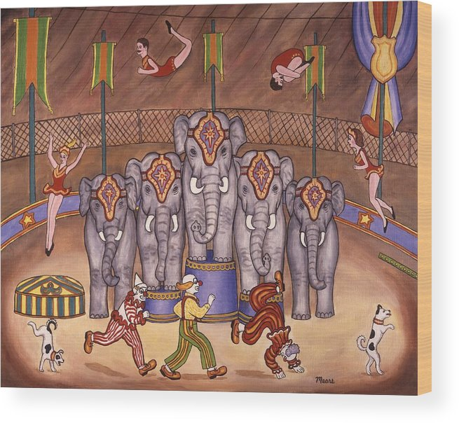 Circus Wood Print featuring the painting Elephants And Acrobats by Linda Mears