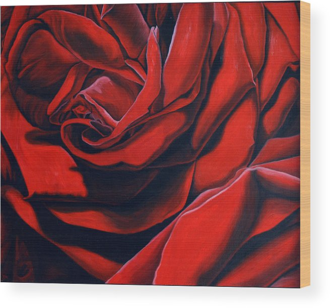Rose Wood Print featuring the painting February Rose by Thu Nguyen