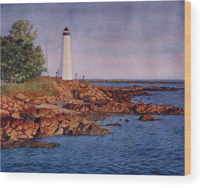 Lighthouse Wood Print featuring the painting Five Mile Point Lighthouse by Sharon Farber