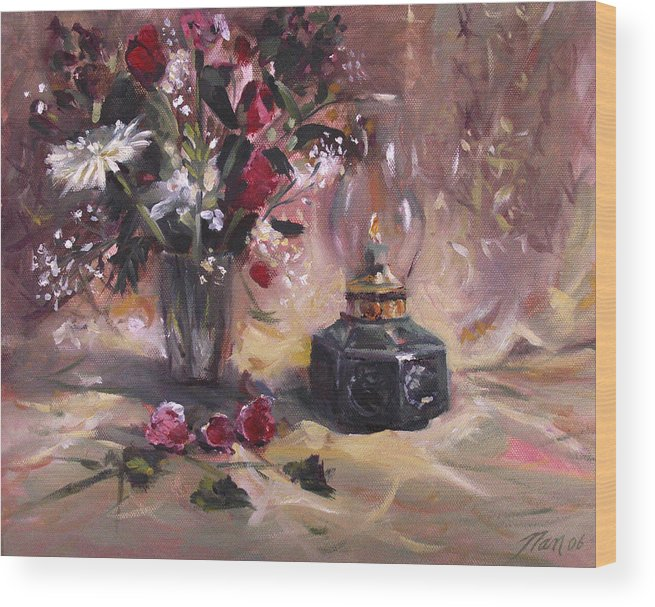 Flowers Wood Print featuring the painting Flowers With Lantern by Nancy Griswold