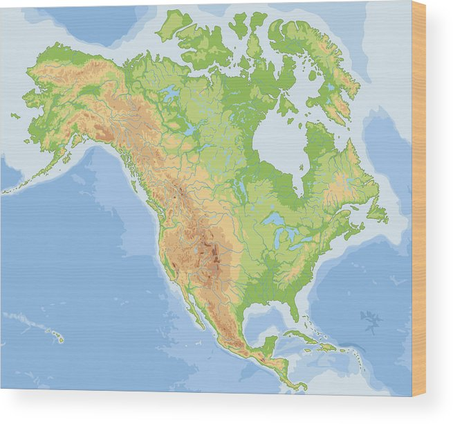 High Detailed North America Physical Map. Wood Print