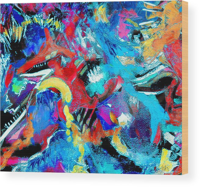 Abstract Expressionist Bright Colorful Bold And Contemporary. Wood Print featuring the painting Irreverent Revelation by Expressionistart studio Priscilla Batzell
