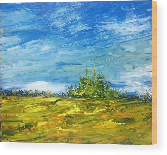 Landscape Abstract Canadian Impressionist Group Of Seven Wood Print featuring the painting Island Of Pines - Interlake Field by Desmond Raymond
