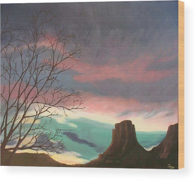Sedona Wood Print featuring the painting Jewels In The Sky by Janis Mock-Jones