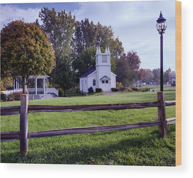 Immanuel Lutheran Church Wood Print featuring the photograph Little Village Chapel Of The Immanuel Lutheran Church by Paul Cannon
