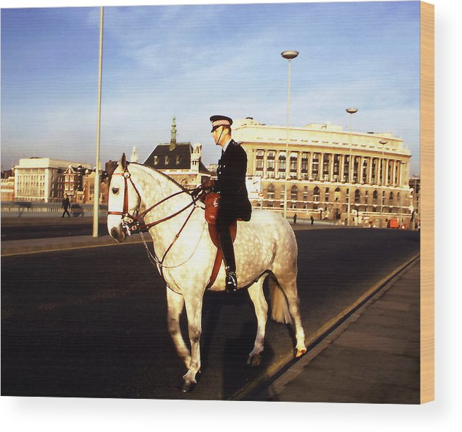 People; London; Horse; Still Lifes. Wood Print featuring the photograph London Bobby On Horseback by Robert Rodvik