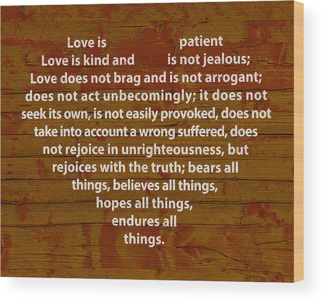 1 Corinthians 13 Wood Print featuring the mixed media Love Is by Design Turnpike
