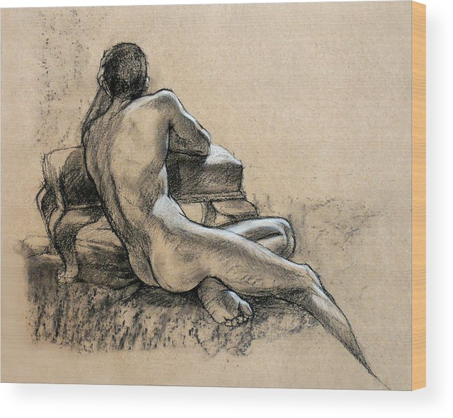 Males Wood Print featuring the drawing Male Nude by Roz McQuillan