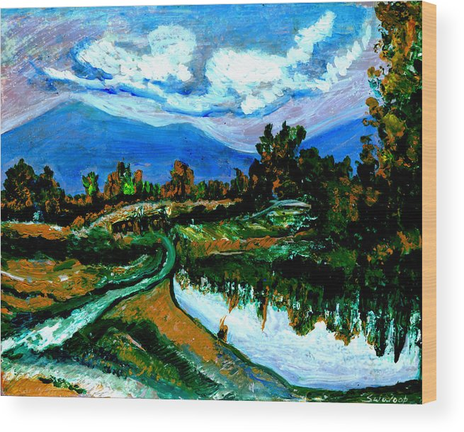 Himalayas Wood Print featuring the painting Manas Sarovr Lake-17- by Anand Swaroop Manchiraju