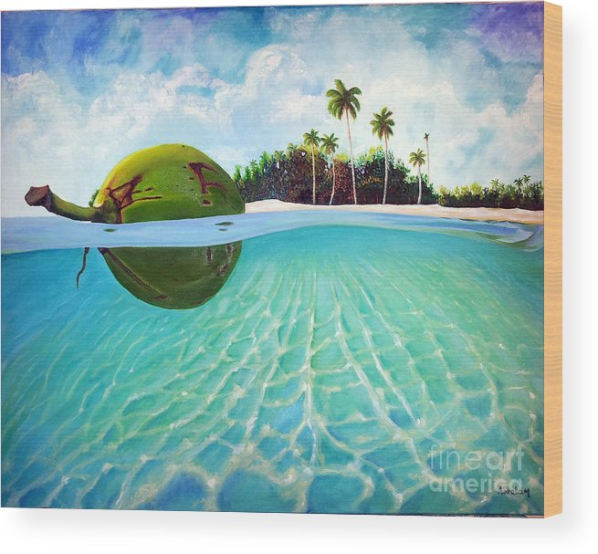 Coconut Wood Print featuring the painting On The Way by Jose Manuel Abraham