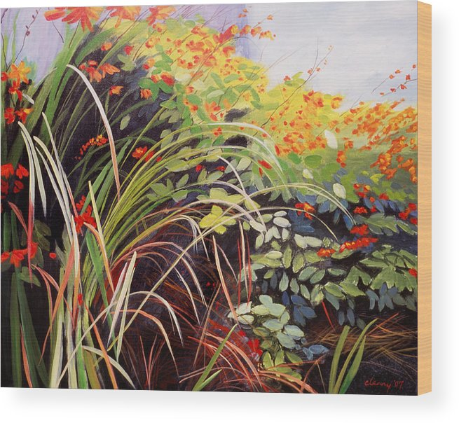 Landscape Wood Print featuring the painting Pacific Crocosmia by Melody Cleary