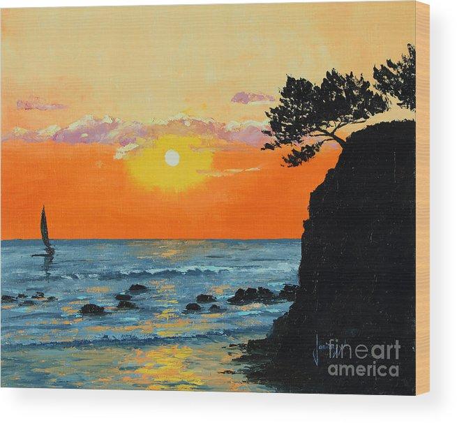 Jean-marc Janiaczyk Wood Print featuring the painting Peaceful Sunset by Jean-Marc Janiaczyk