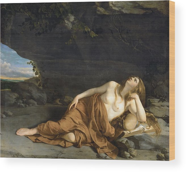 Orazio Gentileschi Wood Print featuring the painting Penitent Mary Magdalene by Orazio Gentileschi
