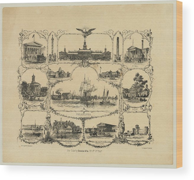 1856 Wood Print featuring the digital art Philadelphia By James Fuller Queen by Bill Cannon