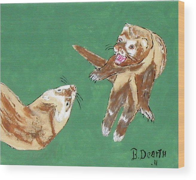 Ferrets Wood Print featuring the painting Play Time by Brian Dearth