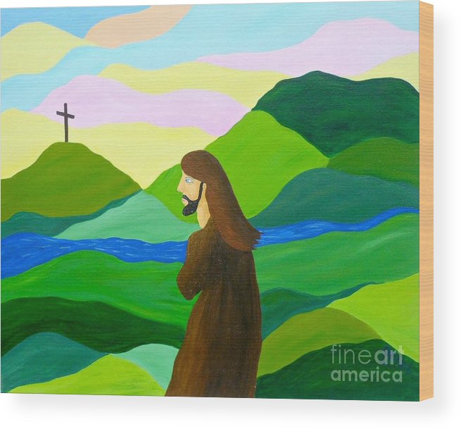 God Wood Print featuring the painting Risen A New Dawn by JoNeL Art