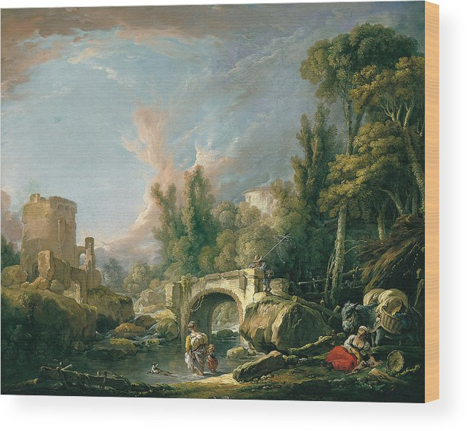 Francois Boucher Wood Print featuring the painting River Landscape With Ruin And Bridge by Francois Boucher