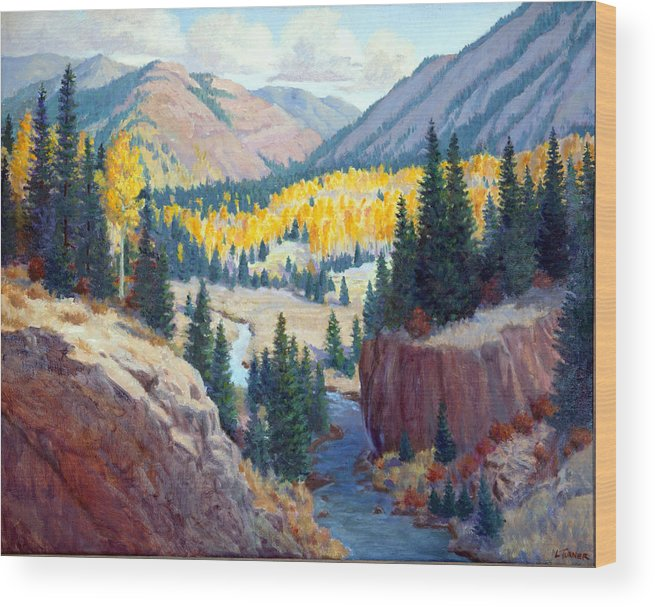 New Mexico Wood Print featuring the painting River Valley by Douglas Turner