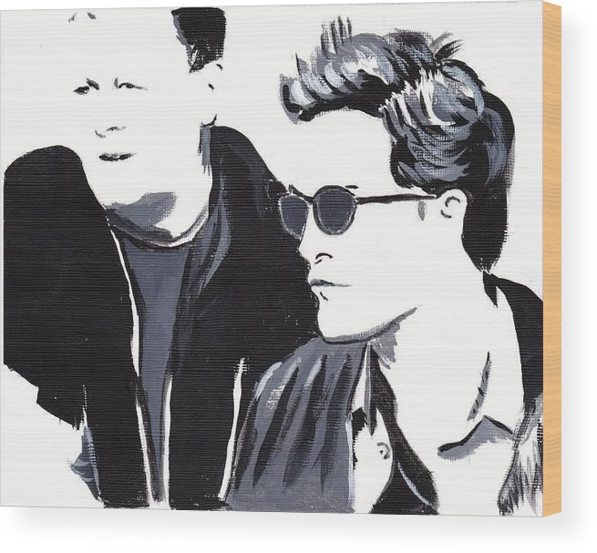 Robert Pattinson Famous Faces Filmactor Movies Black And White Painting Acrylic Wood Print featuring the painting Robert Pattinson 122 by Audrey Pollitt