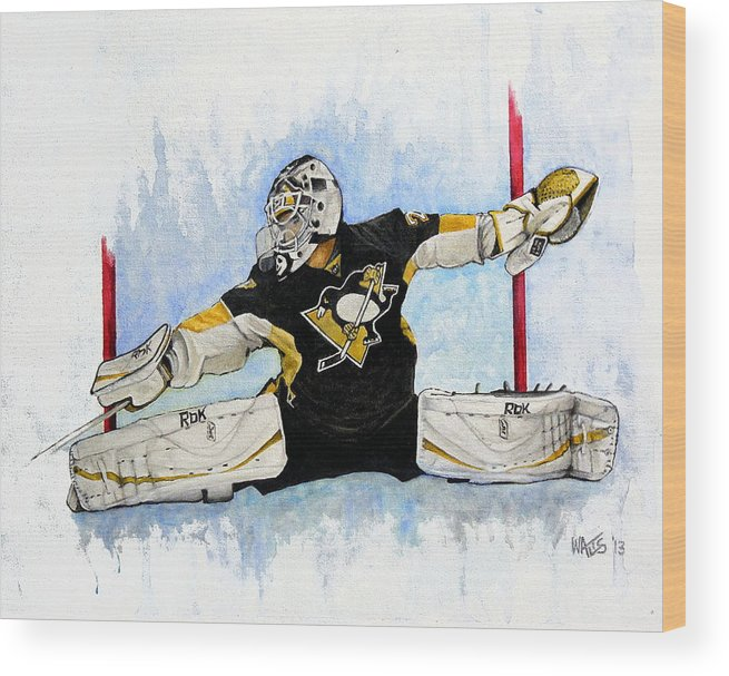 Hockey Wood Print featuring the painting Shot ...save by William Walts