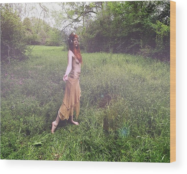 Fairy Wood Print featuring the photograph Spring Nymph by Jake Revolt