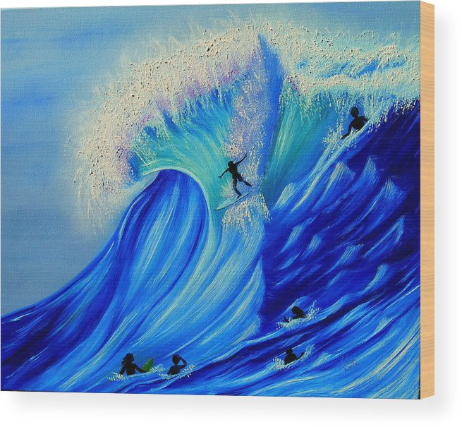 Surf Wood Print featuring the painting Surfing Party by Kathern Welsh
