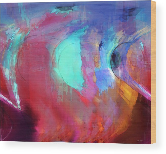 Abstract Wood Print featuring the digital art The Afterglow by Linda Sannuti