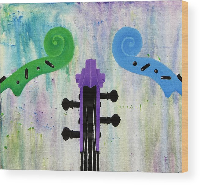 Instruments Wood Print featuring the painting The Colors Of Music by Kailie DeBolt