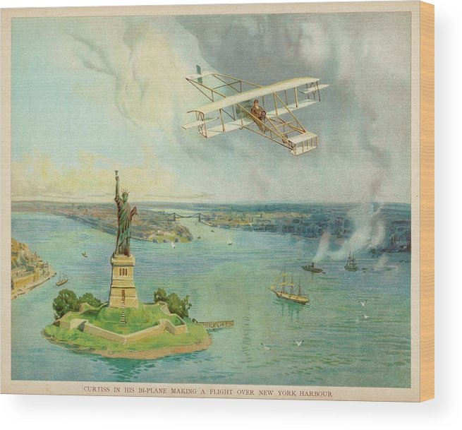 Curtiss Wood Print featuring the drawing The 'gold Bug' Biplane Designed by Mary Evans Picture Library