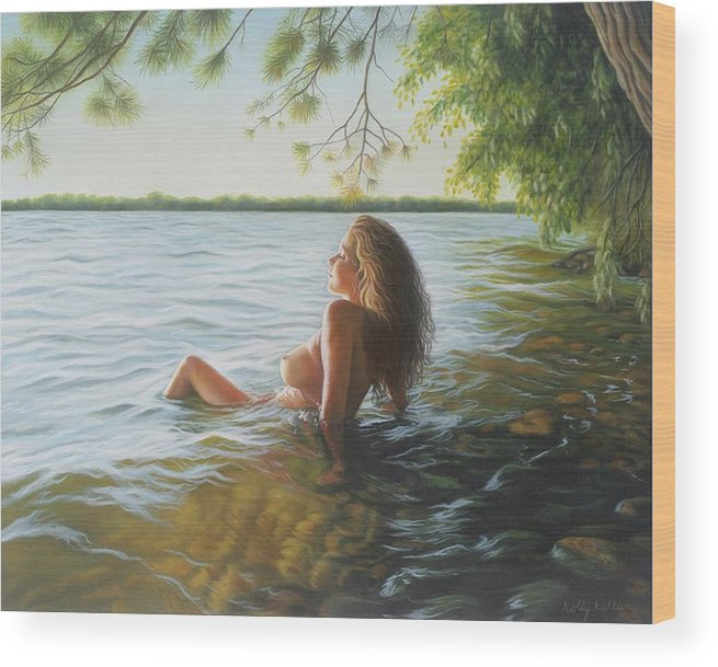 Realism Wood Print featuring the painting This Moment Now by Holly Kallie