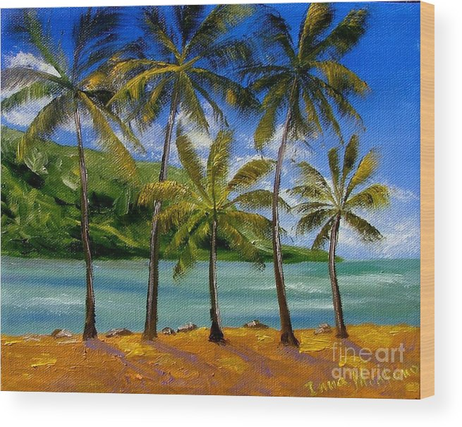 Summer Wood Print featuring the painting Tropical Paradize by Inna Montano