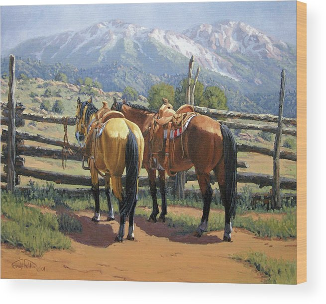 Horse Wood Print featuring the painting Two Saddle Horses by Randy Follis