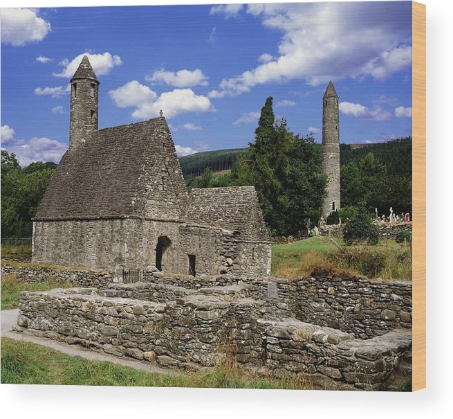 Architectural Exteriors Wood Print featuring the photograph Chapel Of Saint Kevin At Glendalough by The Irish Image Collection