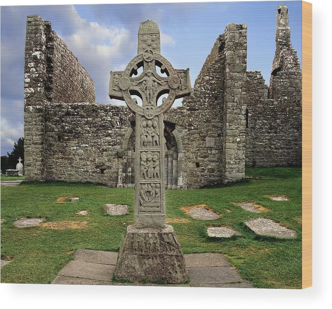 Architectural Exteriors Wood Print featuring the photograph Clonmacnoise, Co. Offaly, Ireland by The Irish Image Collection
