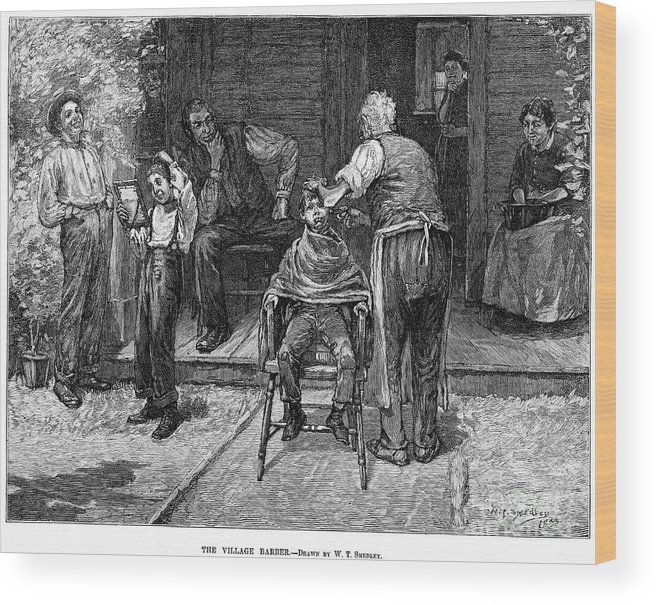 1883 Wood Print featuring the photograph The Village Barber, 1883 by Granger
