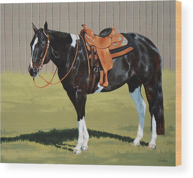 Horse Wood Print featuring the painting Untitled by Lesley Alexander