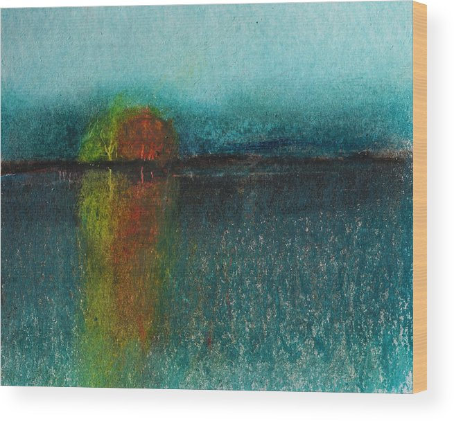 Dusk Wood Print featuring the painting Dusk by Robert Bissett