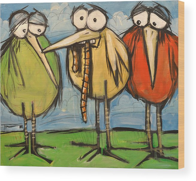Bird Wood Print featuring the painting Early Bird by Tim Nyberg
