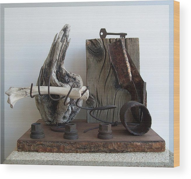 Sculpture Wood Print featuring the sculpture Earth Radio by Snake Jagger