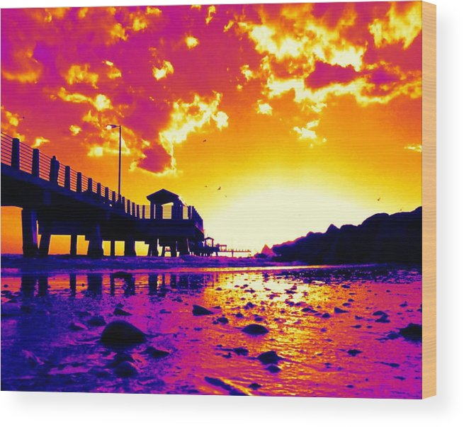 Pier Wood Print featuring the digital art Heat Wave Sunset by Laura Holt