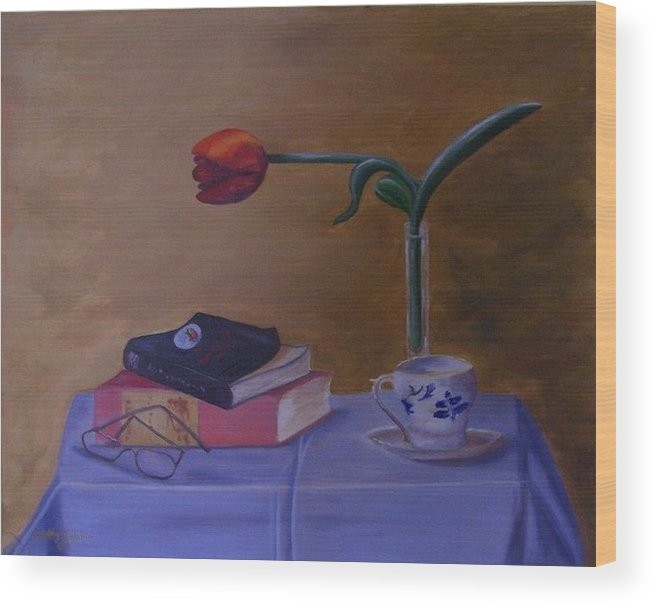 Books Wood Print featuring the painting Still Life by Betty Dobbin